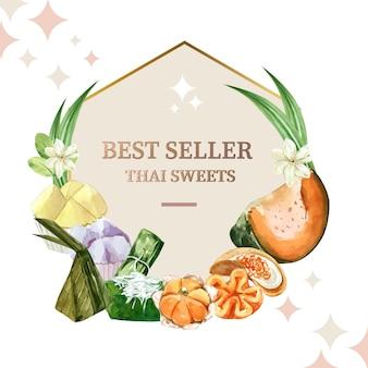 Thailändischer süßer kranz mit gedämpftem kürbis, eivanillepudding-illustrationsaquarell.