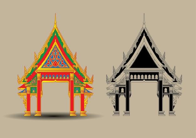 Thailändischer tempel, der weinlese buddah baut