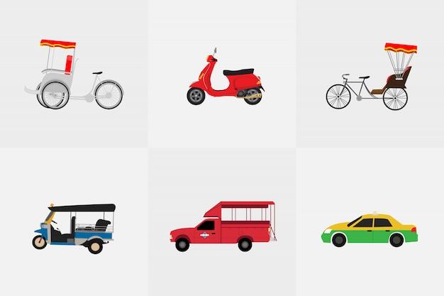 Thailändischer transport mit dreirad, motorrad, taxi, minibus