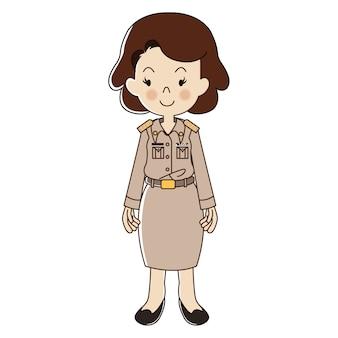 Thailändischer weiblicher lehrer in der uniform