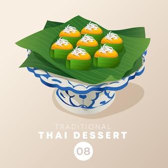 Thailändisches dessert in traditioneller thailändischer keramikware: illustration