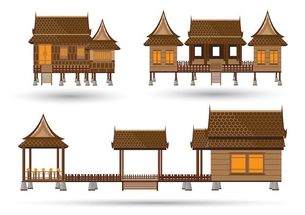 Thailändisches hausmodell gemacht vom vektor