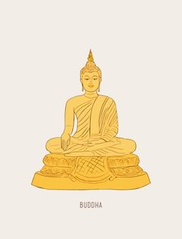 Thailändisches kulturkonzept mit buddha und vase von lotos