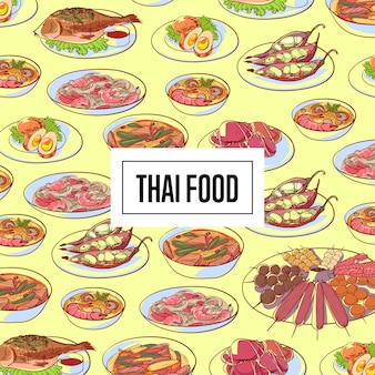 Thailändisches lebensmittelmuster mit asiatischen küchetellern