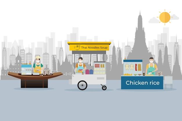 Thailändisches streetfood mit thailändischer nudelsuppe mit hühnerreis