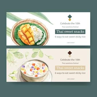 Thailändisches süßes fahnendesign mit klebrigem reis, mango, bua loi aquarellillustration.