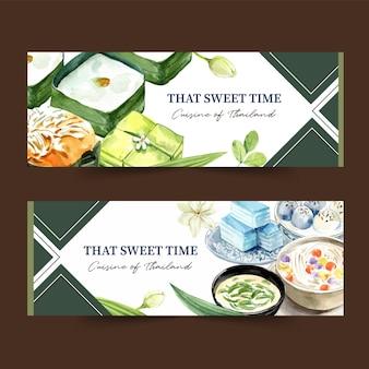 Thailändisches süßes fahnendesign mit pudding, überlagerte geleeaquarellillustration.