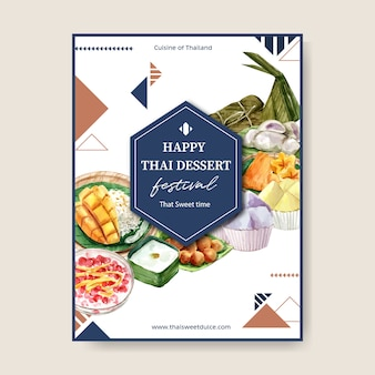 Thailändisches süßes plakatdesign mit klebrigem reis, mango, puddingillustrationsaquarell.
