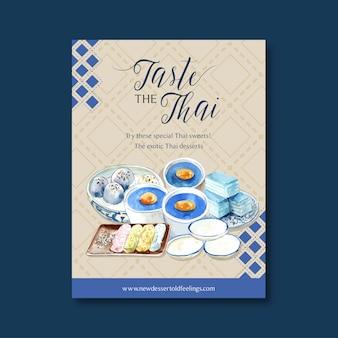 Thailändisches süßes plakatdesign mit pudding, überlagertes geleeillustrationsaquarell.