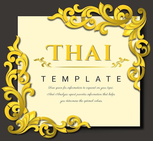 Thailändisches traditionelles konzept des goldenen blumenrahmendesigns