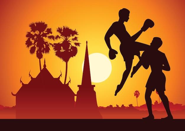 Thailand berühmte kampfkünste im landschaftsdesign mit silhouettendesign, muay thai