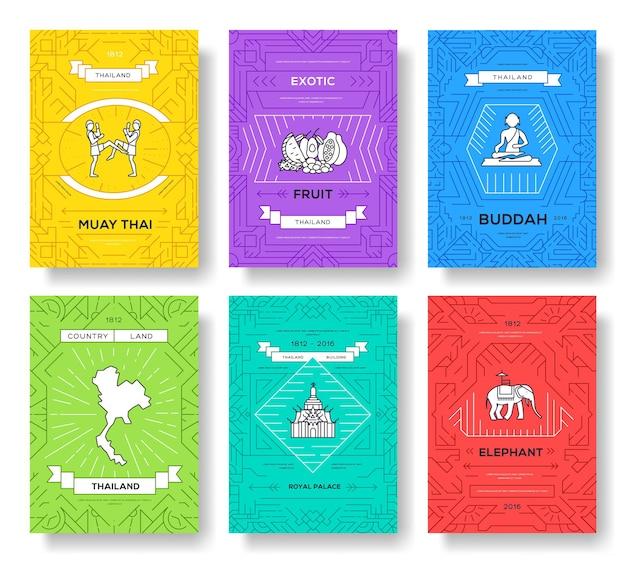 Thailand dünne linie broschüre kartensatz