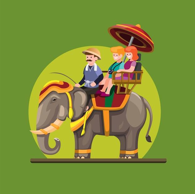 Thailand elepant attraktion mit passagiertourist im cartoon