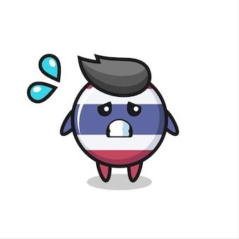 Thailand-flaggen-maskottchen-charakter mit ängstlicher geste, süßes design für t-shirt, aufkleber, logo-element