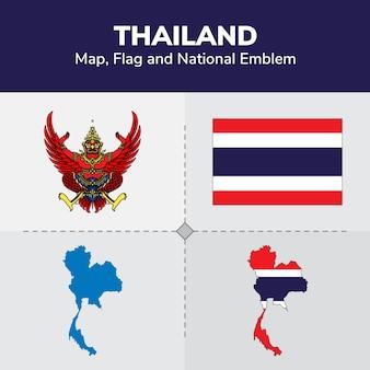 Thailand karte, flagge und national emblem