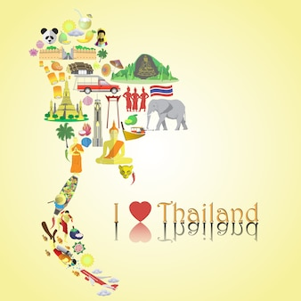 Thailand karte. setze coloricons und symbole in kartenform