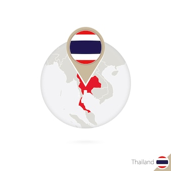Thailand-karte und flagge im kreis. karte von thailand, thailand-flaggenstift. karte von thailand im stil der welt. vektor-illustration.
