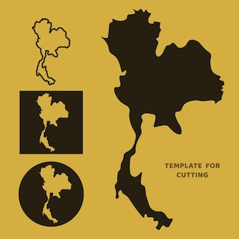 Thailand-karte vorlage zum laserschneiden, holzschnitzen, scherenschnitt. silhouetten zum schneiden. thailand karte vektorschablone.