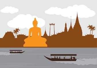 Thailand-Markstein und Reiseplatz, Tempel, Hintergrund.