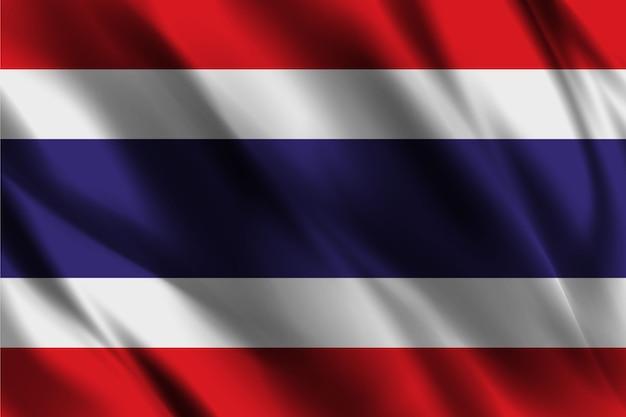 Thailand nationalflagge, die seidenhintergrund schwenkt