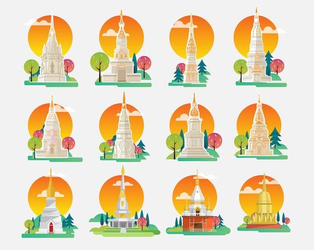 Thailand sehenswürdigkeiten und icons set, architektur-gebäude-ikonen, vektorillustration
