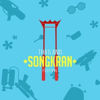Thailand songkran-festival mit schattenelement hinten