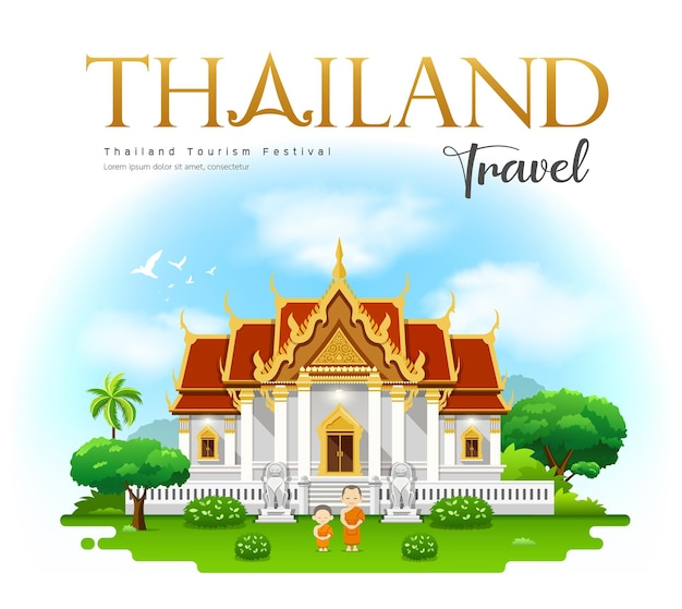 Thailand tempel. thailand reisen mit mönch.