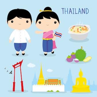 Thailand-traditions-asien-maskottchen-jungen-mädchen-karikatur-vektor
