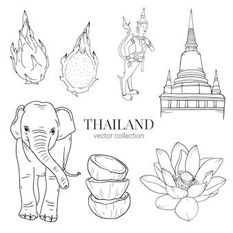 Thailand travel hand zeichnen doodle-element