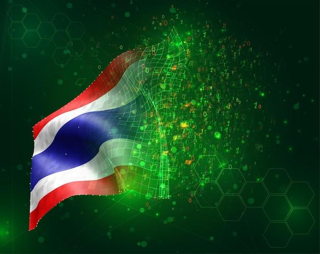 Thailand, vektor-3d-flagge auf grünem hintergrund mit polygonen und datennummern