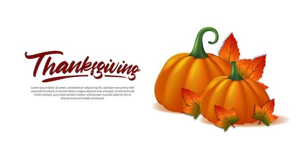 Thanksgiving 3d realistische kürbisgemüse und ahornblätter fallen herbst grußkarte poster banner vorlage