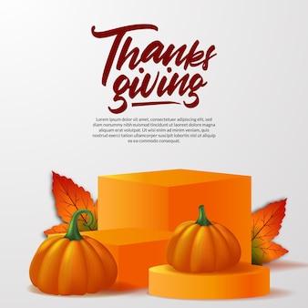 Thanksgiving 3d realistischer kürbis mit podiumsbühnenproduktanzeige mit herbst-ahornblättern