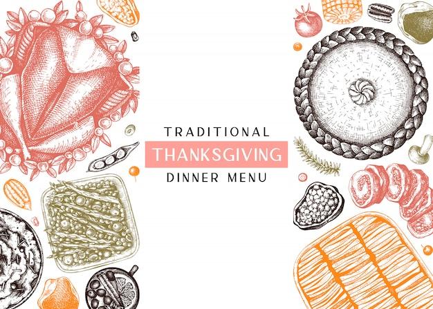 Thanksgiving-abendmenü in farbe. mit gebratenem truthahn, gekochtem gemüse, gerolltem fleisch, backkuchen und tortenskizzen. weinlese-herbst-nahrungsmittelrahmen. erntedankfest hintergrund.