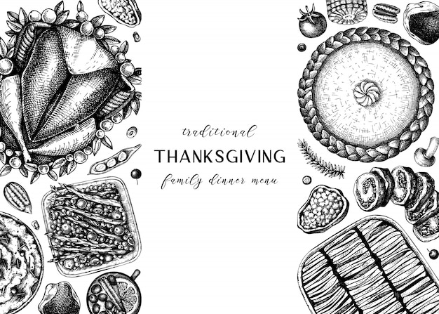 Thanksgiving-abendmenü. mit gebratenem truthahn, gekochtem gemüse, gerolltem fleisch, backkuchen und tortenskizzen. weinlese-herbst-nahrungsmittelrahmen. erntedankfest hintergrund.