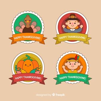 Thanksgiving-abzeichen mit charakter-avataren