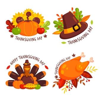 Thanksgiving-abzeichen-sammlung im flachen design