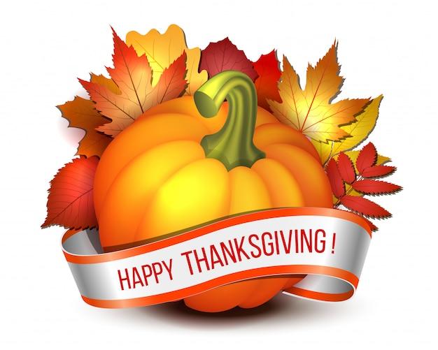 Thanksgiving, band mit happy thanksgiving-schriftzug und orangefarbenen kürbissen und herbstlichen ahornblättern. plakat oder broschüre für thanksgiving-party. .