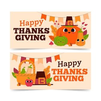 Thanksgiving-banner im flachen design