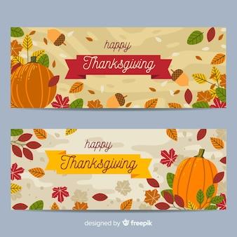 Thanksgiving-banner inmitten einer flachen bauweise