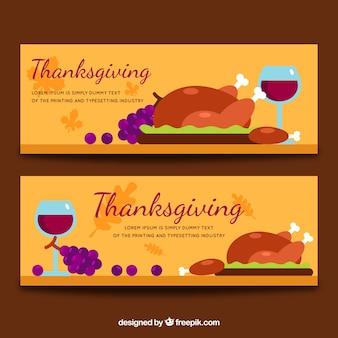 Thanksgiving-banner mit abendessen