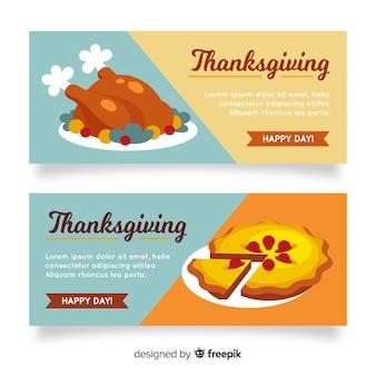 Thanksgiving-banner zeichnen konzept
