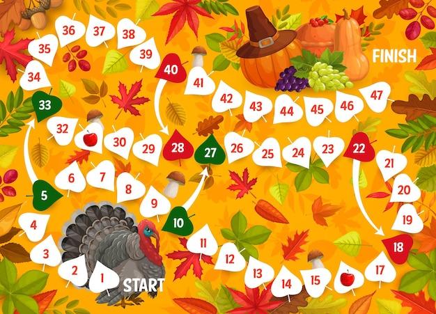 Thanksgiving-brettspiel, truthahn, blätter, ernte