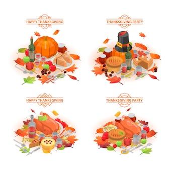 Thanksgiving day banner gesetzt. isometrischer satz der erntedankfestvektorfahne für webdesign