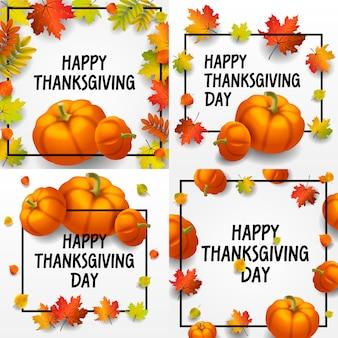 Thanksgiving day banner gesetzt. isometrischer satz des erntedankfestes