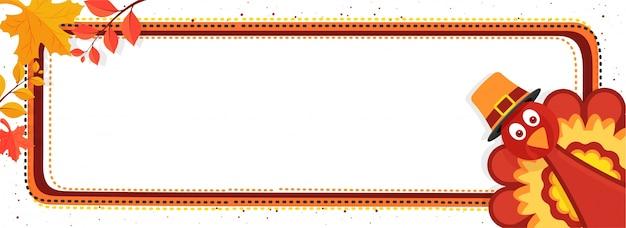 Thanksgiving day banner mit der türkei vogel.