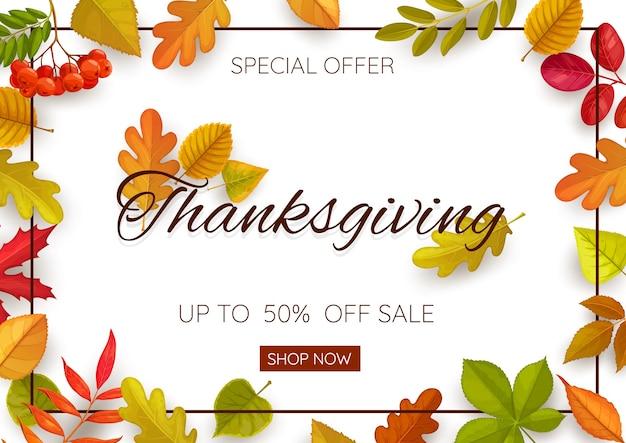 Thanksgiving day sale banner mit herbstlaub und ebereschenbeeren. sonderangebot für laden-, einkaufszentren- und markteinkauf, aktionsgutschein mit gefallenen blättern aus eiche, birke, kastanie, ahorn