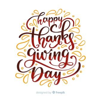 Thanksgiving day schriftzug design