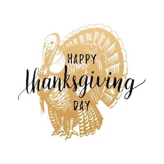 Thanksgiving day schriftzug mit festlicher truthahnillustration. einladungs- oder feiertagsgrußkartenschablone.