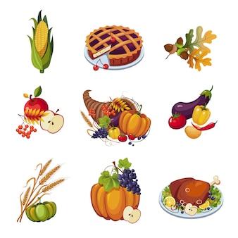 Thanksgiving-elemente. illustrationsset