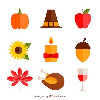 Thanksgiving-elemente im flachen design packen